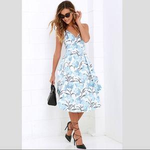 Lulus Keepsake Heart Strong Light Blue Floral Midi